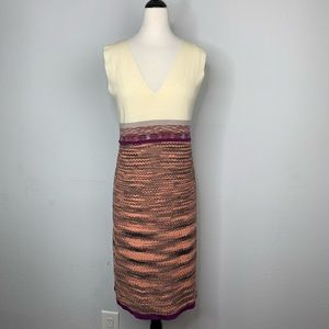Missoni Orange Label V Neck Knit Midi Dress